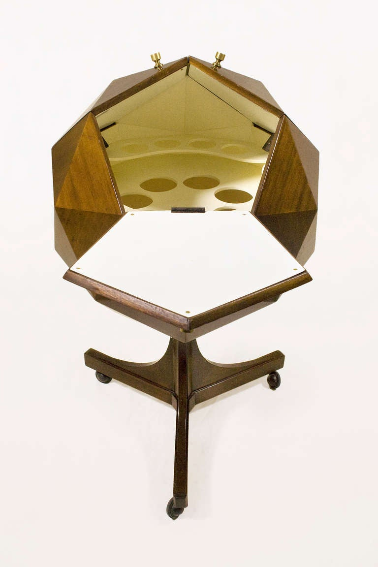 Ico Parisi Attributed Polyhedron Mahogany Bar In Good Condition For Sale In Girona, ES