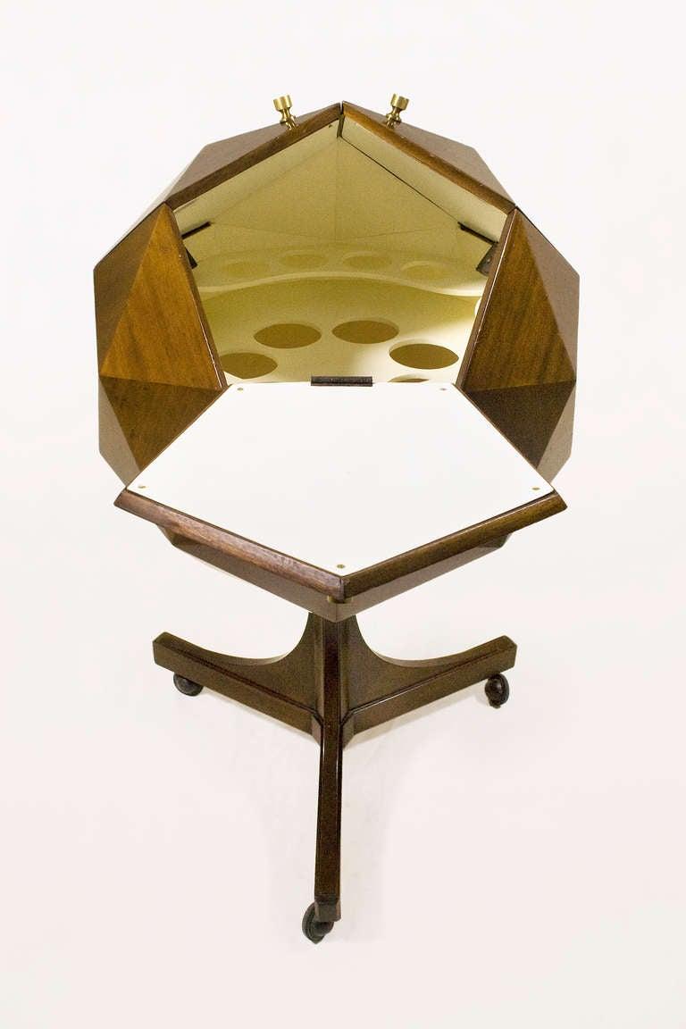 Ico Parisi Attributed Polyhedron Mahogany Bar 5