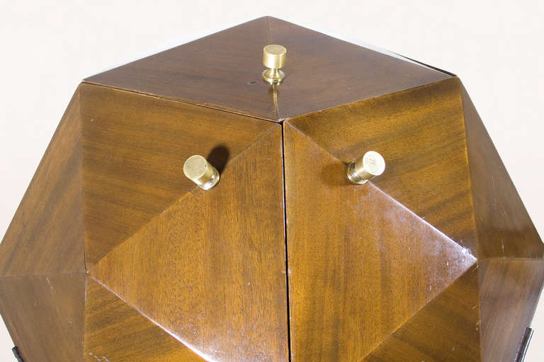 Mid-20th Century Ico Parisi Attributed Polyhedron Mahogany Bar For Sale