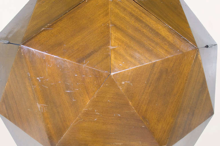 Laminate Ico Parisi Attributed Polyhedron Mahogany Bar For Sale