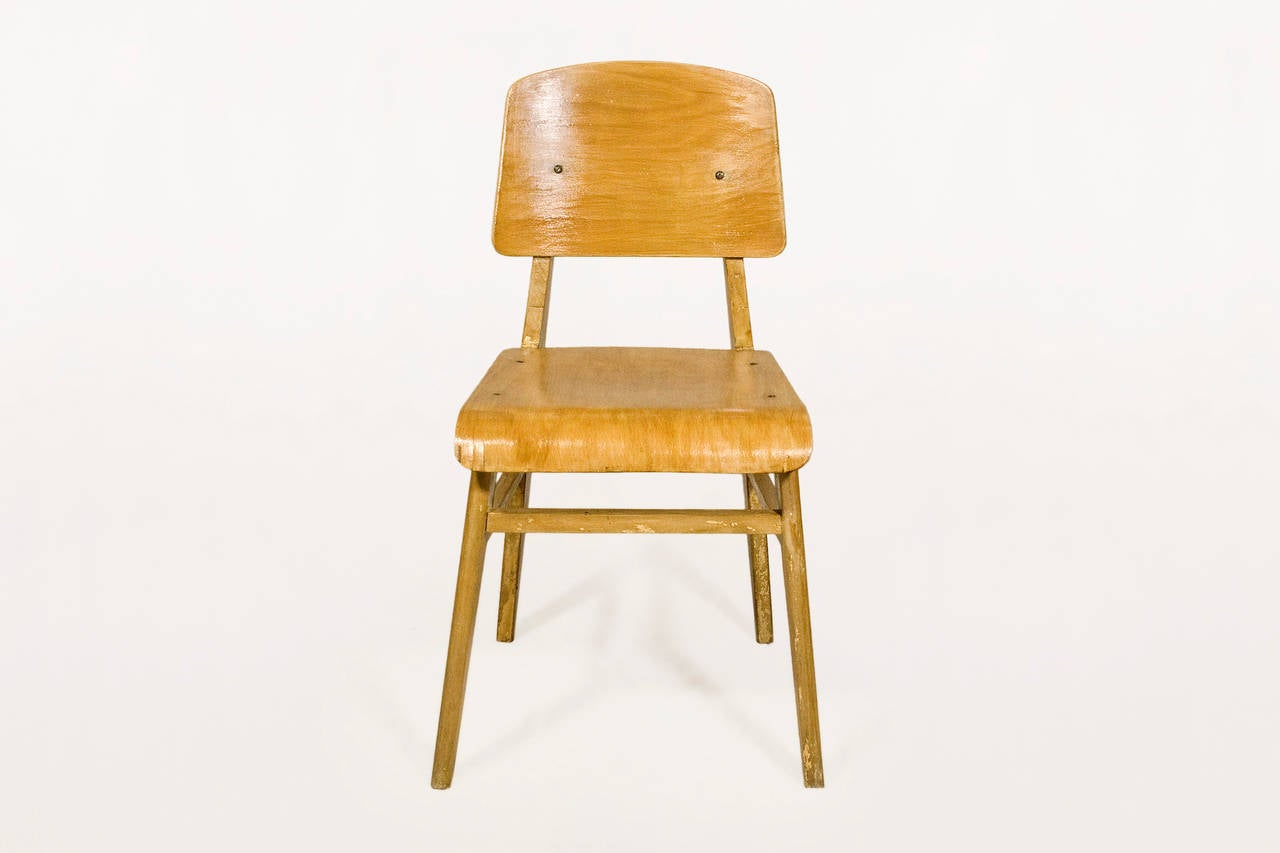 Jean prouve chaise en bois wooden standard chair circa 1940 france at 1stdibs - Chaise de jean prouve ...