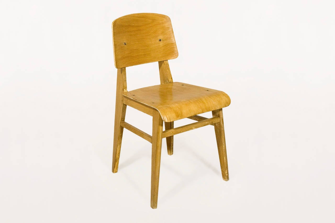 "Jean Prouve ""Chaise en Bois"", Wooden Standard Chair, circa 1940, France 3"