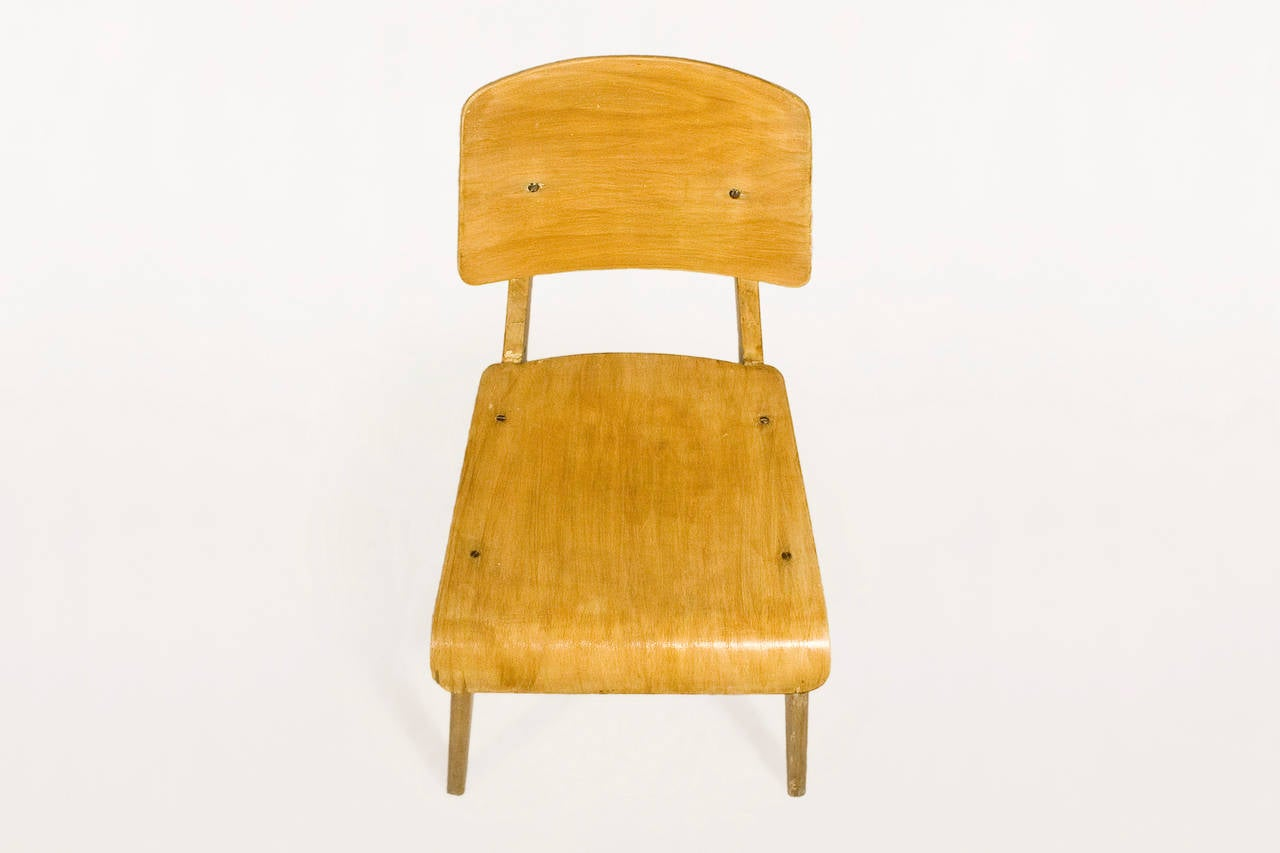 "Jean Prouve ""Chaise en Bois"", Wooden Standard Chair, circa 1940, France 5"