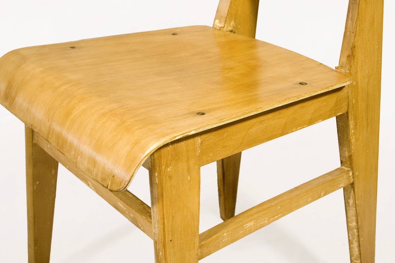 "Jean Prouve ""Chaise en Bois"", Wooden Standard Chair, circa 1940, France 6"