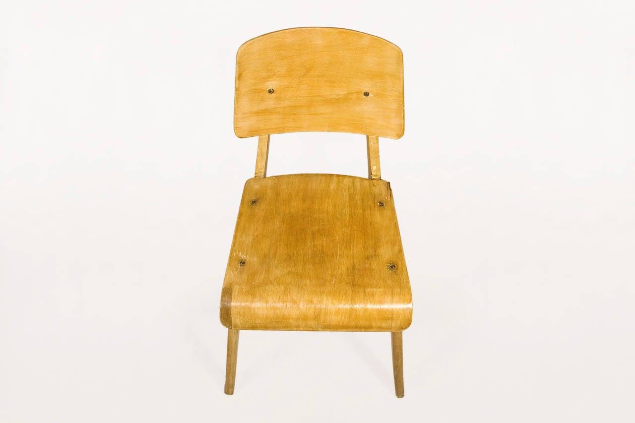 Jean prouv chaise en bois wooden standard chair circa for Chaise francaise
