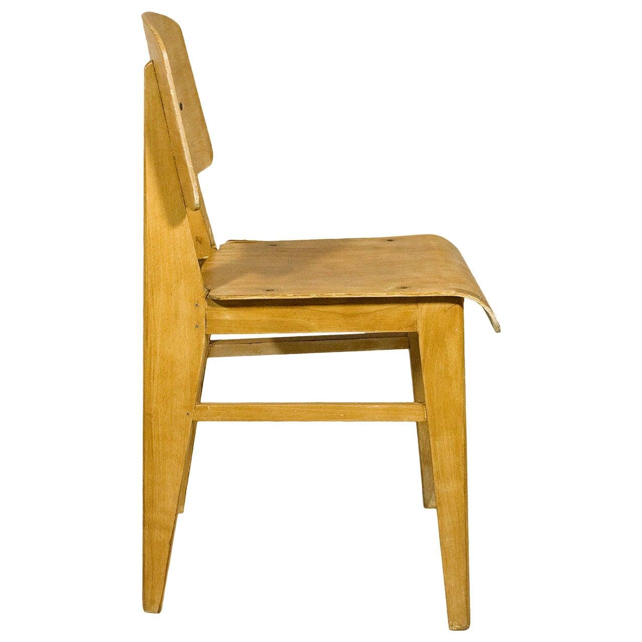 jean prouv chaise en bois wooden standard chair circa. Black Bedroom Furniture Sets. Home Design Ideas