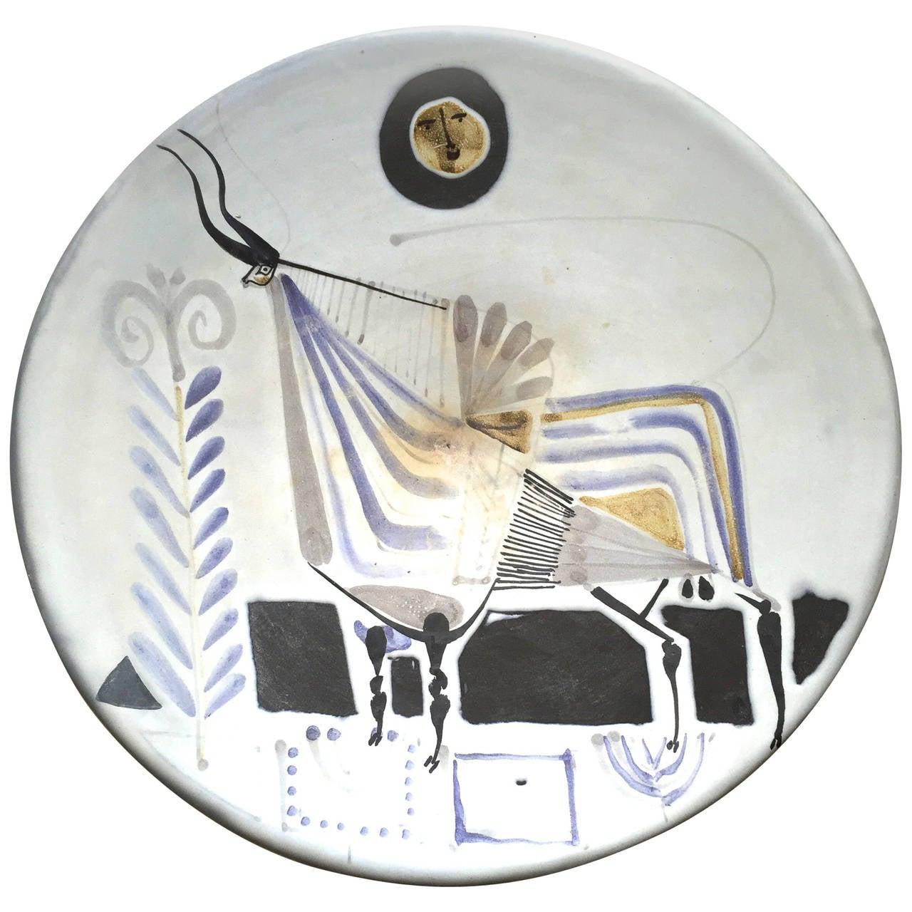 "Roger Capron Large Ceramic ""Bull"" Plate, circa 1950, France"