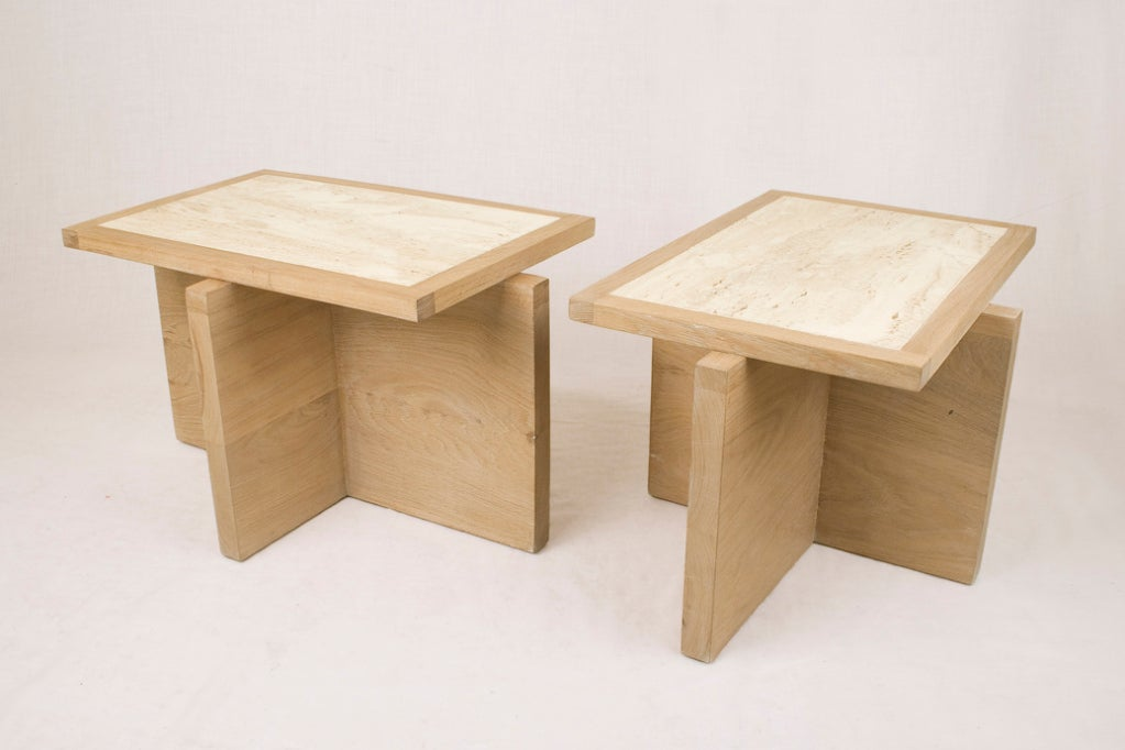 Pair of Serge Castella oak and travertine side table, Oak and travertine Customizable, any size available France, circa 2000. While studying fashion in Paris, Serge Castella spent his time wandering around flea markets and the louvre. Becoming an
