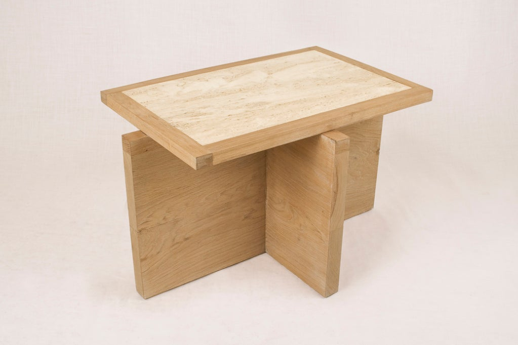 Spanish Pair of Serge Castella Oak and Travertine Side Table, circa 2000, France For Sale