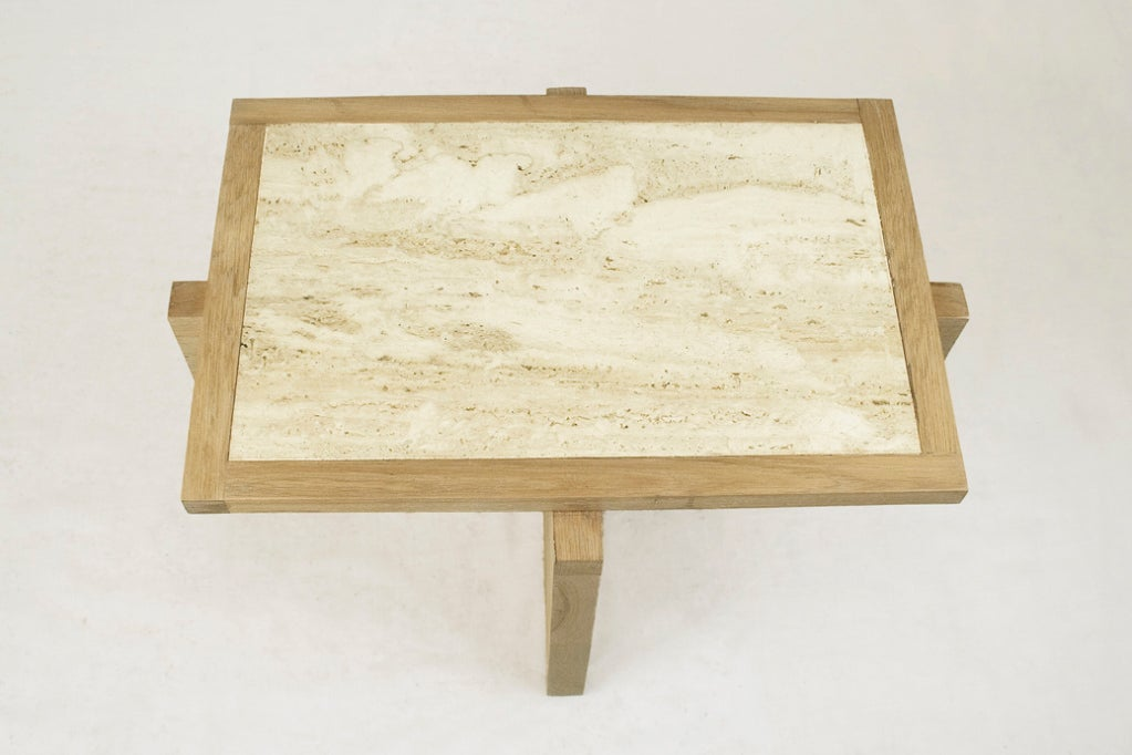 Pair of Serge Castella Oak and Travertine Side Table, circa 2000, France In Excellent Condition For Sale In Girona, Spain