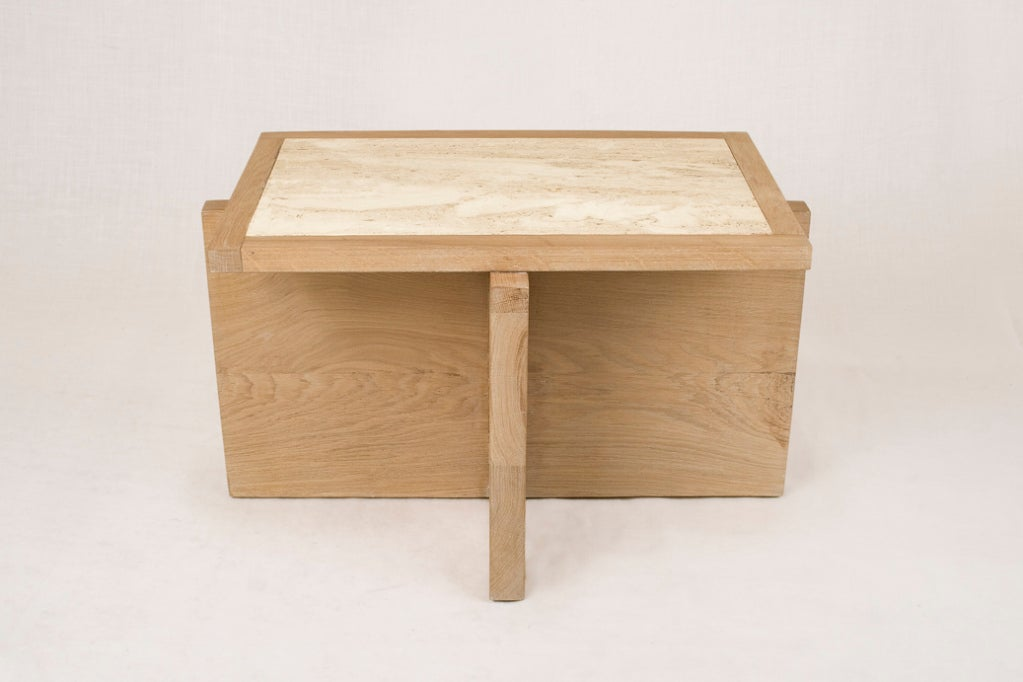 Contemporary Pair of Serge Castella Oak and Travertine Side Table, circa 2000, France For Sale