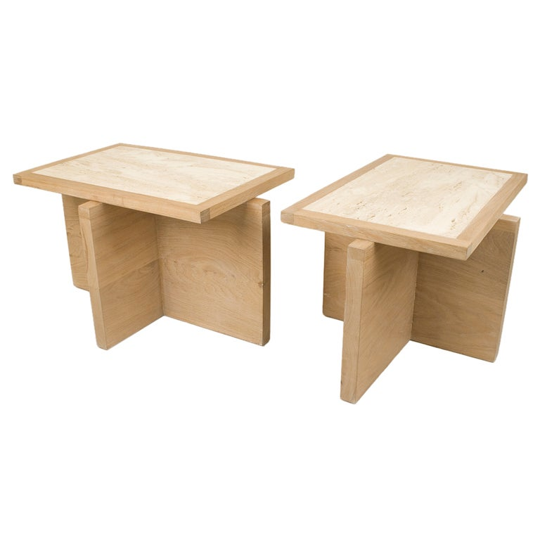 Pair of Serge Castella Oak and Travertine Side Table, circa 2000, France For Sale