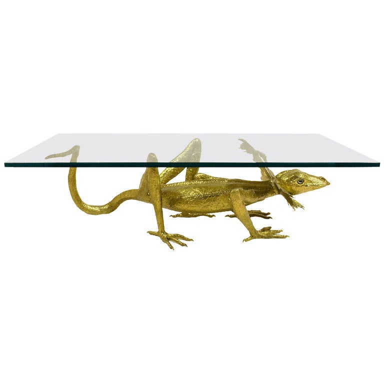 "Rare Jacques Duval-Brasseur Bronze ""Lizard"" Coffee Table, circa 1970, France"