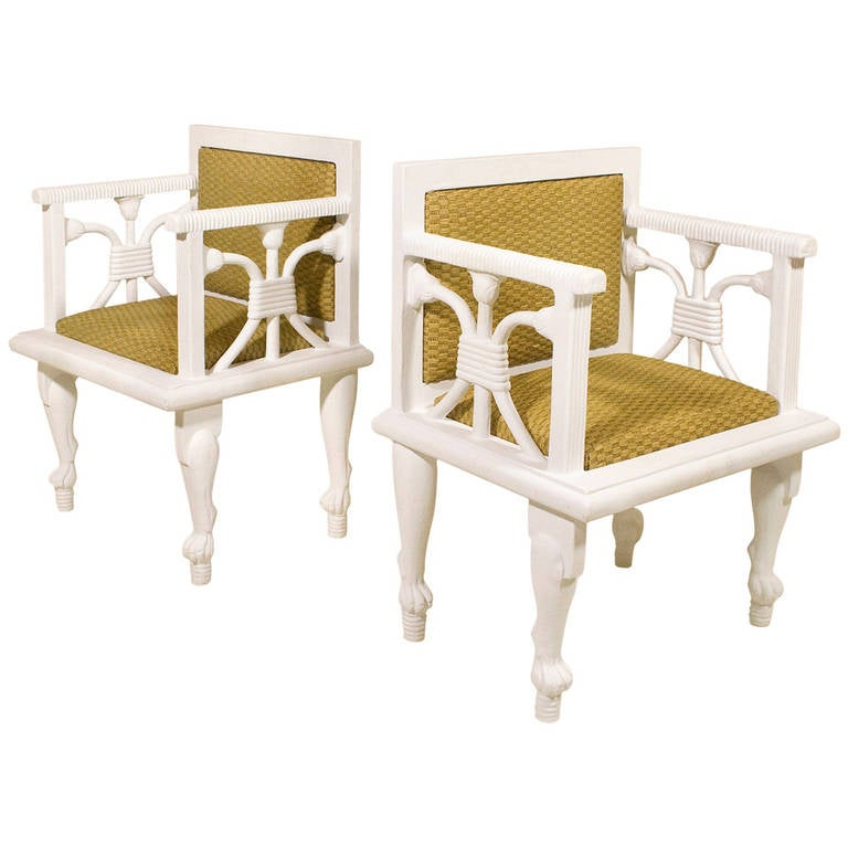 Pair of Egyptian Armchairs in the Manner of John Dickinson, circa 1970, France