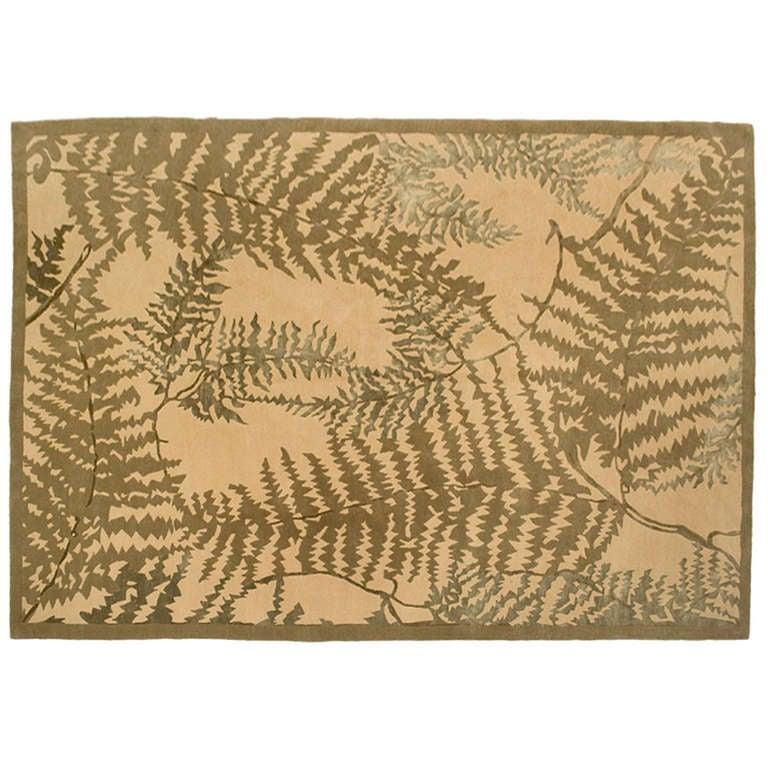 Carpet fern leaves by frank lloyd wright at 1stdibs - Frank lloyd wright rugs ...