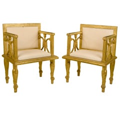 Neo Egyptian pair of golden wood chairs
