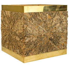 Brass and Cork Decorative Box by Gabriella Crespi, circa 1970, Italy