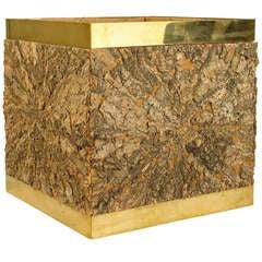 Brass and Cork Decorative Box by Gabriella Crespi, circa 1970, Italy