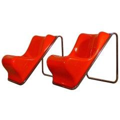 "Alberto Rosselli ""P110"" lounge chairs for Saporiti"