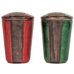 Pair of Italian 1950s Enamel Containers with engravings.