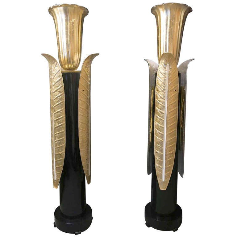 Pair of a Very Special Floor Lamps By Seguso Arte at 1stdibs