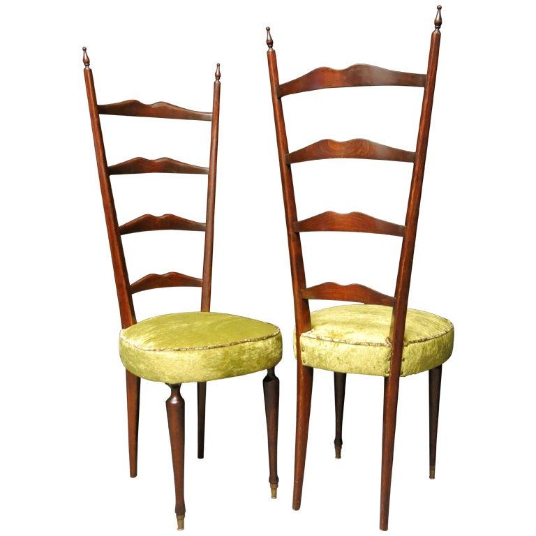 Pair of High Back Ladder Green Velvet Italian Mid-Century Chiavari Chairs