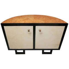 1930 Demi-lune Parchment French Art Deco Sideboard