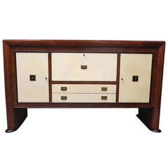 1940 Maples Wood Parchment Italian Art Deco Sideboard