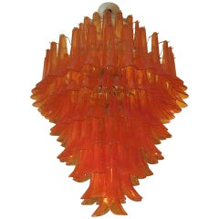 Mazzega Round Orange Art Glass Murano Chandelier, 1970