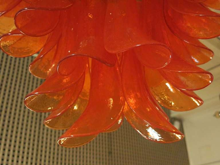 Mazzega Round Orange Art Glass Murano Chandelier, 1970 In Excellent Condition For Sale In Rome, IT