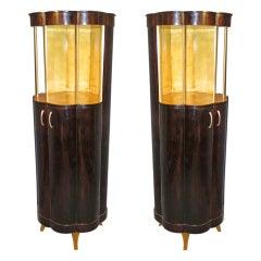Art Deco Round Macassar Ebony French Cabinets, 1940