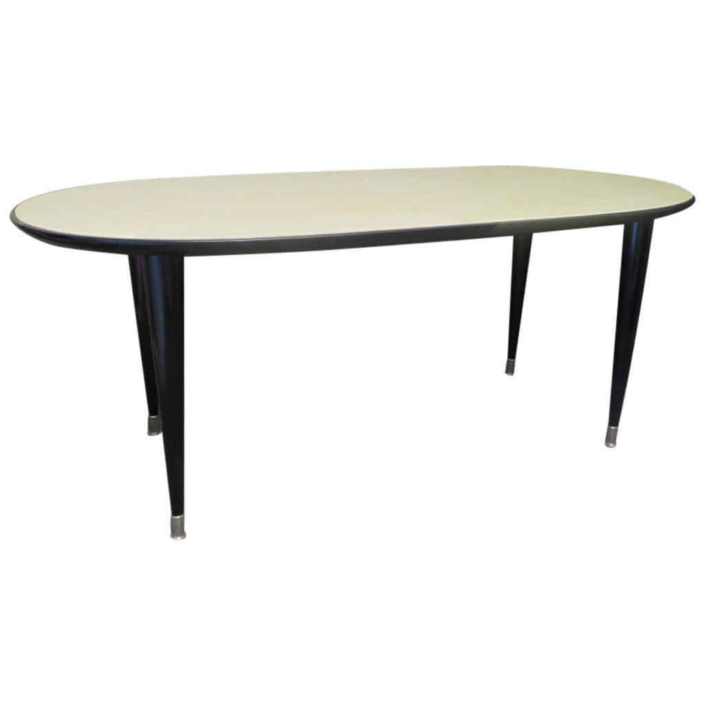 1940s Parchment Oval Art Deco Table For Sale