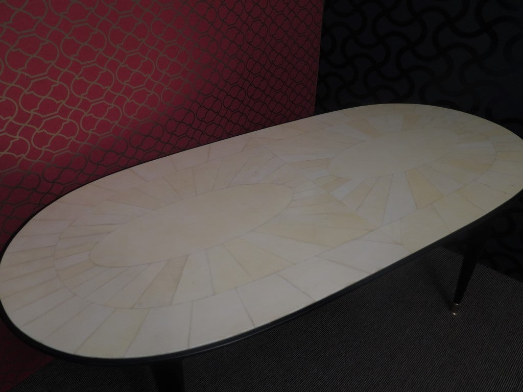 Brass 1940s Parchment Oval Art Deco Table For Sale