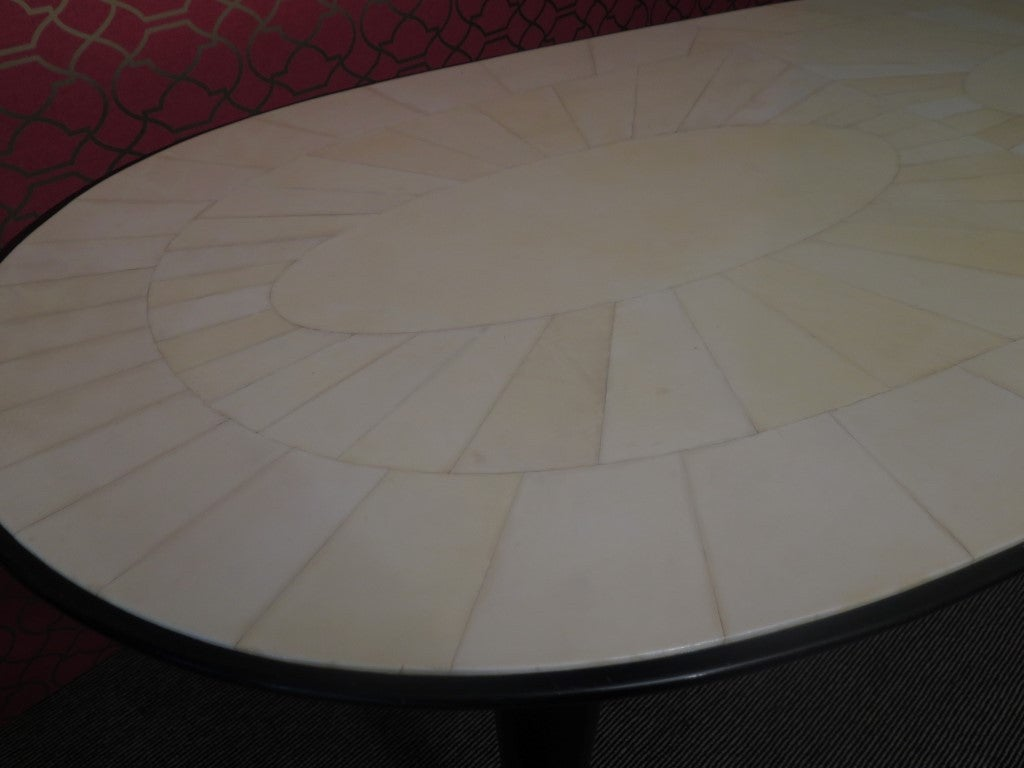 1940s Parchment Oval Art Deco Table For Sale 1