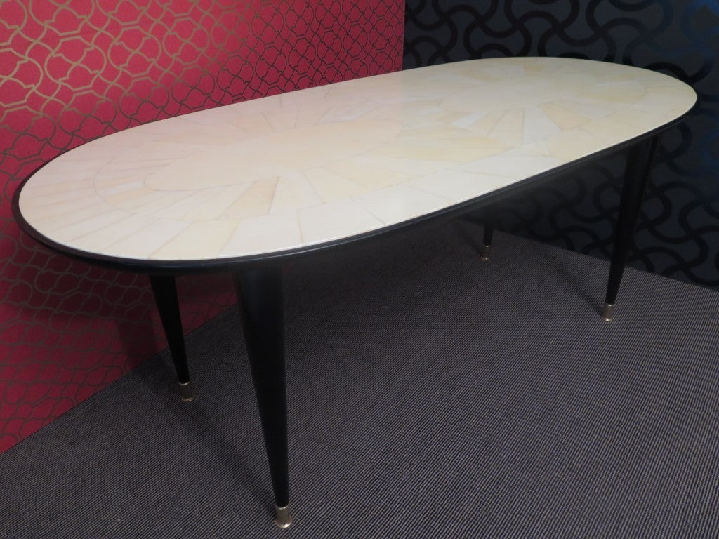 Italian 1940s Parchment Oval Art Deco Table For Sale