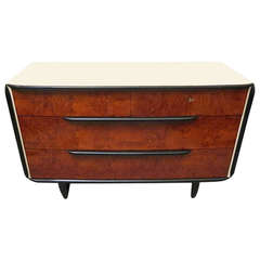 1930 Walnut and Parchment italian Art Deco Chest of Drawers