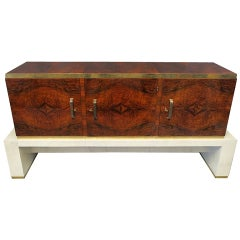 1920 Walnut Parchment and Brass Italy Art Deco Sideboard