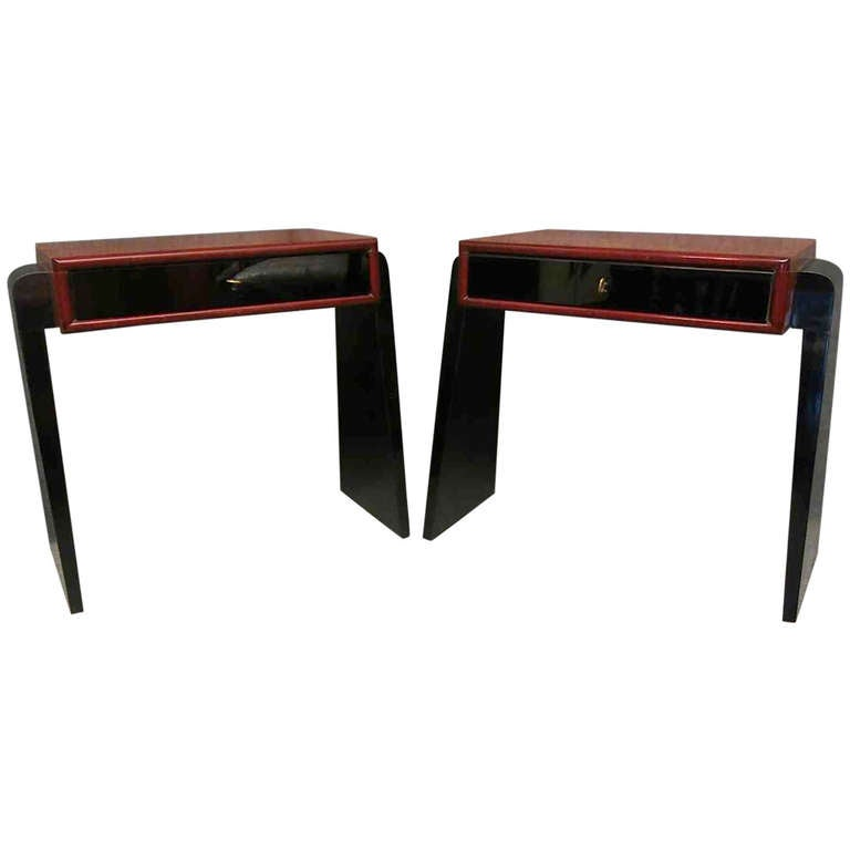 Pair of Art Deco Glass and Wood Austrian Nightstands, 1930 For Sale
