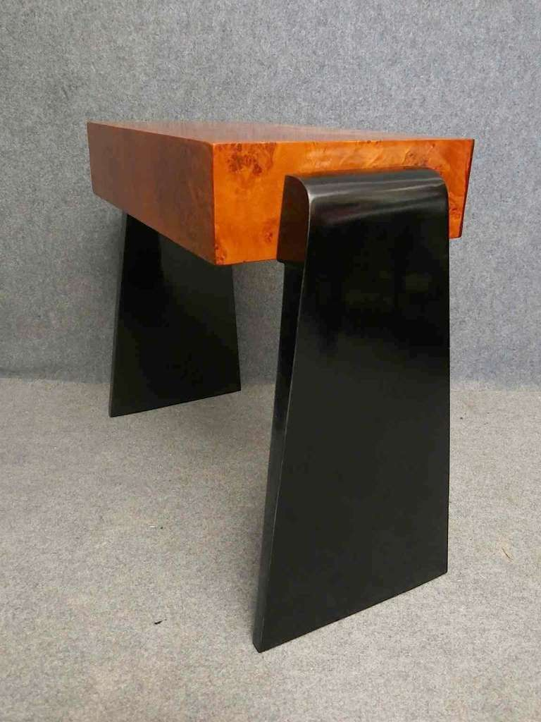 Mid-20th Century Pair of Art Deco Glass and Wood Austrian Nightstands, 1930 For Sale