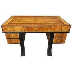 1940s Rectangular Italian Ash Art Deco Writing Desk