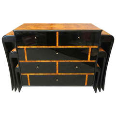 Art Deco Poplar Root and black Glass italian Commodes