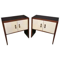 Couple of 1940s Parchment and Walnut Art Deco Nightstands