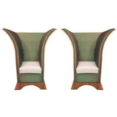 Pair of 1940s Citronè Silk and Damask Velvet Art Deco Armchairs