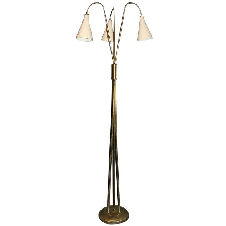 Midcentury three Lights Brass italian Floor Lamp, 1960