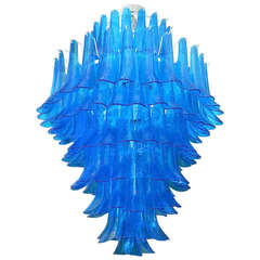 Mazzega 1970 Murano Round Blue Color Mid-Century Chandelier
