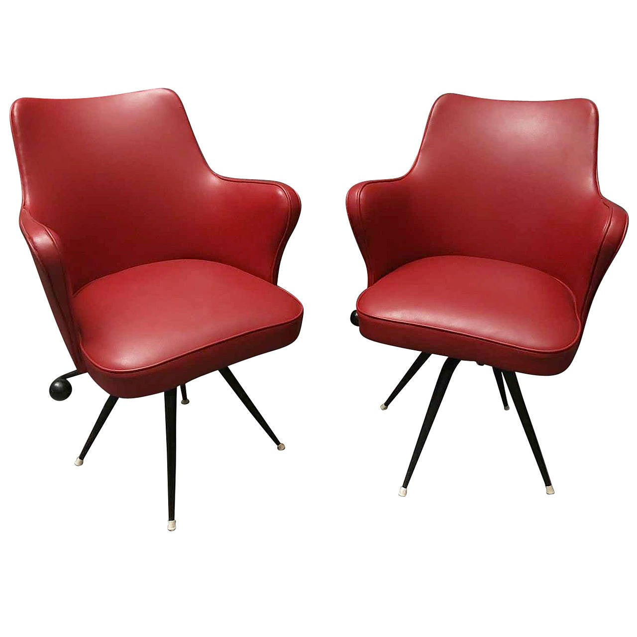 two red office chairs by elettra at 1stdibs