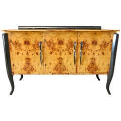 French Sideboard Art Deco, in Olivewood and Murano Glass Handles, 1920s