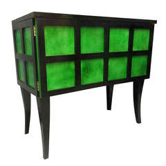 1940s Parchment Emerald Green and Black France Art Deco Sideboard