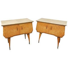Pair of 1950s Maple and Parchment Midcentury Bedside Tables