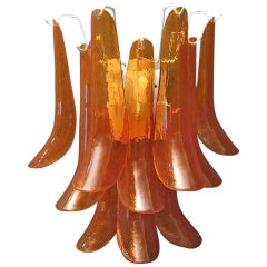 Mazzega Semi Circle Orange Art Glass Murano Wall Lights, 1970